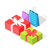 Gift Boxes and Shopping Bags Isolated Illustration