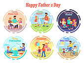 Happy Fathers Day Celebration Set of Illustrations