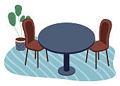 Wooden chairs, table with green plant in pot at carpet, stylish furniture for home or office