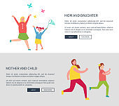 Mother and Daughter Web Set Vector Illustration