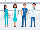 Team of Medical Workers, Hospital Staff Vector