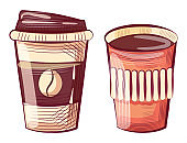 Coffee Cup Made of Plastic or Paper, Takeout Drink