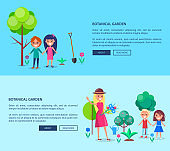 People in Botanical Garden Web Banner with Texts