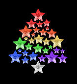 Christmas tree made of shiny stars LGBTQ community rainbow flag colors black background isolated close up, New Year decoration, LGBT pride xmas festive symbol, gay, lesbian etc winter holidays sign