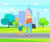 Mother and Child Cartoon People Walk in City Park