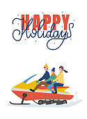 Riding Family Holidays on Snowmobiling Vector
