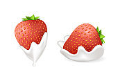 Tasty Strawberries in Fresh Whipped Cream Set