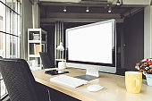 Empty computer monitor screen for design mock up template