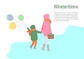 Turning Back People, Walking in Wintertime Vector