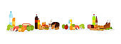 Healthy and Unhealthy Food, Meat and Snack Vector