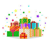 Bunch of Presents Illustration. Holiday Collection