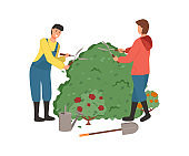 Farming People Man and Woman Cutting Bushes Vector