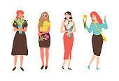 Females with Flowers Isolated Cartoon Characters