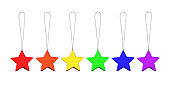Christmas decoration hanging stars baubles set LGBTQ community rainbow flag colors white background isolated close up, LGBT pride symbol, festive design element, gay, lesbian etc New Year holiday sign