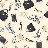 Set of Accessories. Purse. Mascara. Perfume. Shoes
