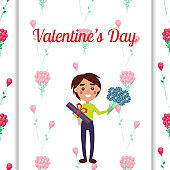 Boy Holding Present and Flowers on Valentines Day