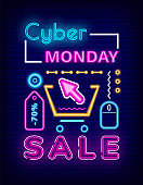 Cyber Monday Sale Neon Icons, Promotional Poster