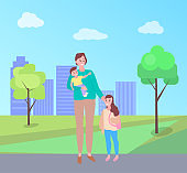 Woman Walking with Daughter Carrying Baby in Park