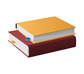 Two Books in Hardcovers Lie One on Another Vector