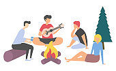 Friend with Guitar, People Leisure, Picnic Vector