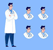 Doctor character creation set with various emotions. Isolated. Male doctor.