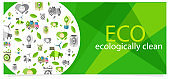 Eco Eecologically Clean Poster with Equipment Icons