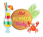 Hot Summer Party, Cocktail and Crab Character