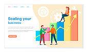 Scaling your business landing page template. Success, achievement, motivation business banner