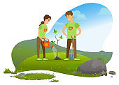 Man and Woman Planting Tree in Mountains, Nature