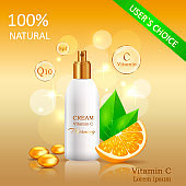 Natural Cream with Vitamin C Vector Illustration