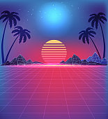 80s Style Landscape with Grid Texture in Neon