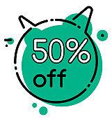 Discount 50 Percent Off Geometric Bubble Vector