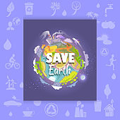 Save Earth Poster with Polluted Plant and Factory