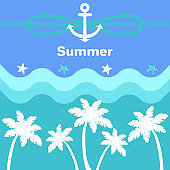 Summer Anchor and Rope Poster Vector Illustration