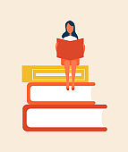 Books Set with Woman Sitting Vector Illustration