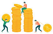 People Pulling Gold Dollar Coin to Pile Money
