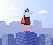 Businesswoman Superhero in Business, Town View