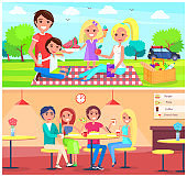 Picnic Cafe Poster Happy Family Have Fun Together