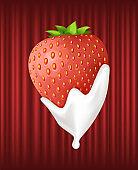 Strawberry Served with Cream, Sweet Berry Dessert
