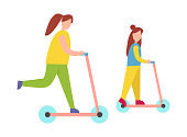 Mother and Daughter Riding Scooters Illustration