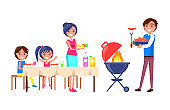 Family Picnic Parents and Kids Vector Illustration