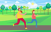 Mother and Daughter Jogging in Park Illustration