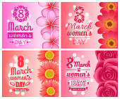 Posters on International Women Day Holiday 8 March