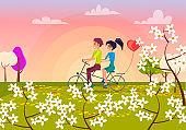Couple Rides Bicycle for Two in Park Illustration