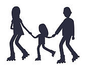 Family Roller Skating Together Silhouettes Vector