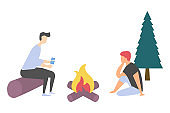 Friends near Bonfire, Leisure and Picnic Vector