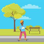 Summer Sport Activities in Park, Boy on Skateboard