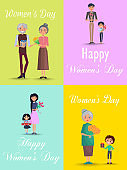 Congratulations from Men to Womens Day Flat Design