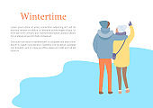 Back View of Embracing Couple in Wintertime Vector