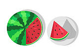 Sweet Juicy Watermelon and Cut Piece of Watermelon